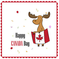 greeting card design for Canada Day with moose