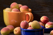 Apricots in ceramic bowls