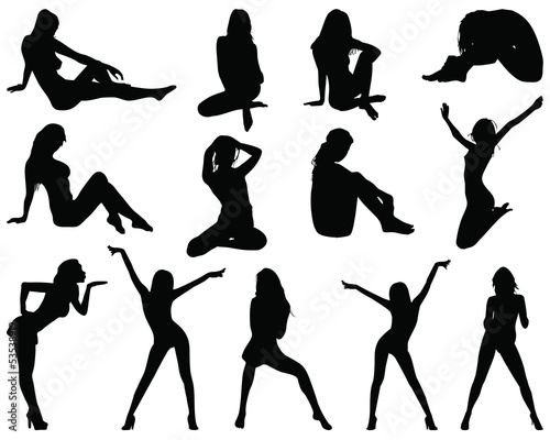 Silhouettes of beautiful girls in various poses, vector