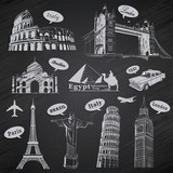 Vintage Travel vacation labels set poster
