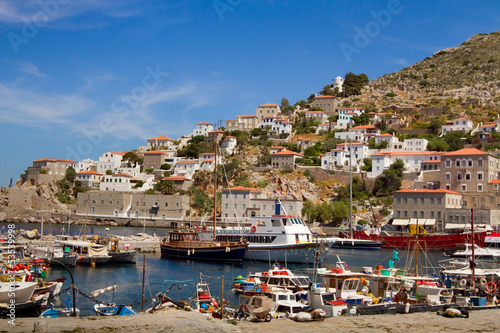 boats and yachts on Hydra island in Greece