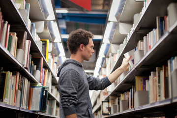 student in book shop or lbrary