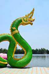 Green Serpent  statue in temple Thailand