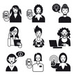 Working Women Faces Set Black and White