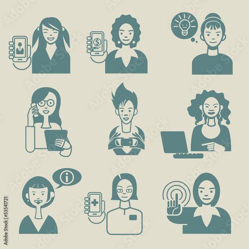 Working Women Faces Set