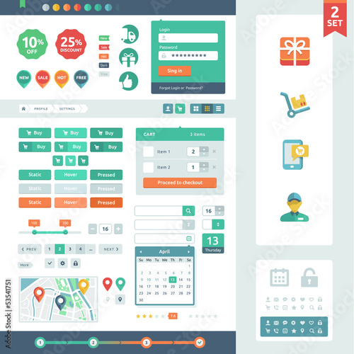 Vector UI elements for web and mobile. Flat design trend. Labels