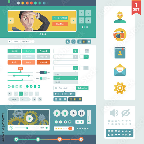 Vector UI elements for web and mobile. Flat design trend. Contro