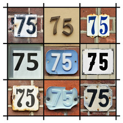 Collage of House Numbers Seventy-five