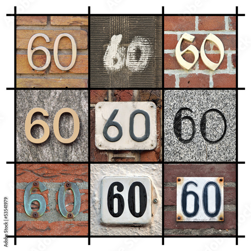 Collage of House Numbers Sixty
