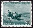 Постер, плакат: Postage stamp Romania 1957 Oxcart by Nicolae Grigorescu