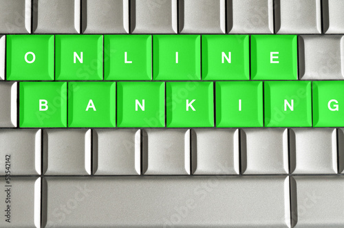 Online Banking spelled on a metallic keyboard