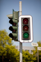 Traffic light with green light illuminated