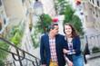 Happy loving couple on Montmartre in Paris