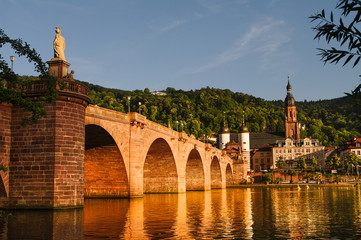 View at old town, castle and city bridge in Heidelberg