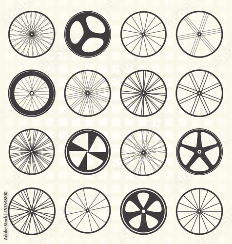 Vector Set: Bike Wheel Silhouettes - 53546100