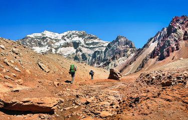 Hikers trekking in the Andes, Argentina, South America