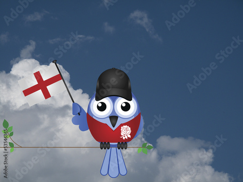 Comical English flag waving bird Patriot