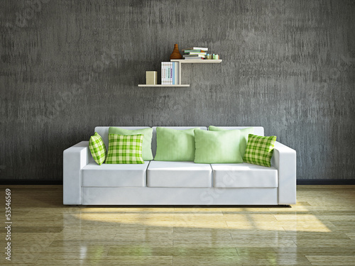 White sofa near the wall