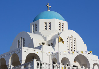 White and blue Greek church