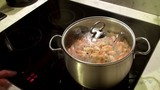 Control of the electric stove with a cooking shrimps