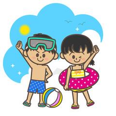 夏 海水浴 子供