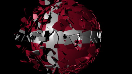 Denmark flag sphere combining and breaking apart animation