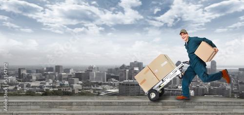 Leinwanddruck Bild Running Delivery postman.