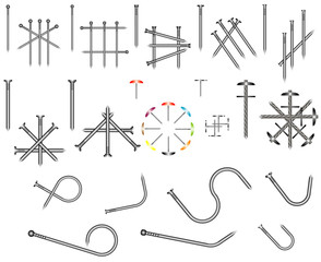 Set of steel nails
