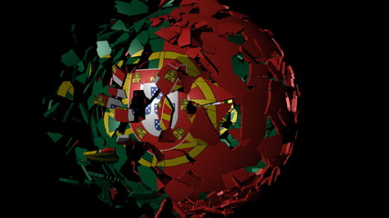 Portugal flag sphere combining and breaking apart animation