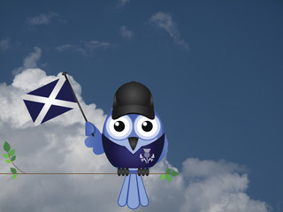 Comical Scottish flag waving bird Patriot