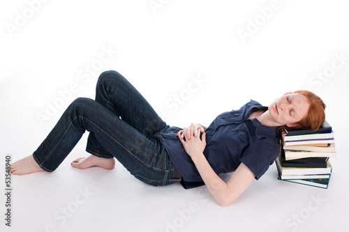 Woman Sleeping on Books