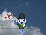Comical Irish flag waving bird Patriot