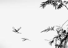 bambou et de la grue