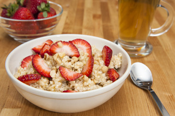 Strawberries and Millet Breakfast Pudding