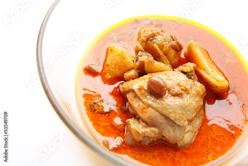 Chicken mussaman curry, Thai food isolated on white background