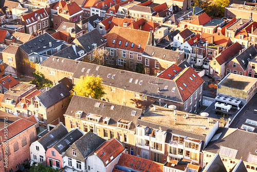 Crowded urban living - red roofs
