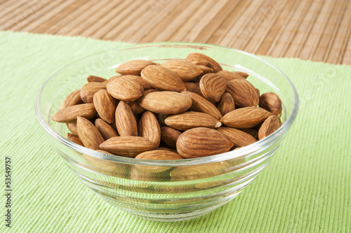 Dish of Raw Almonds