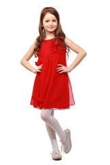 Full length   girl wearing red summer dress standing