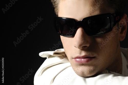 Beauty image of glam guy. Face close-up.