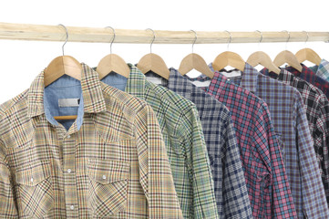 Men's different sleeved plaid cotton on \wooden hanger