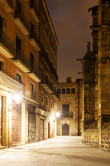 night view of Gothic Quarter.  Barcelona