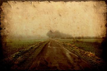 Retroplakat - Einsame Strasse