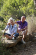 relaxed senior couple having a romantic break outdoors