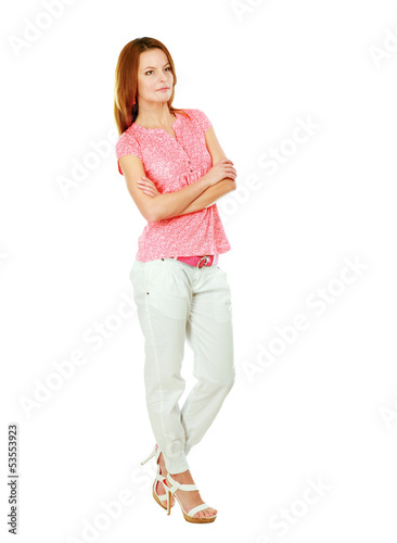 Beautiful casual young woman standing