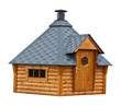 Leinwanddruck Bild - Timber garden sauna building