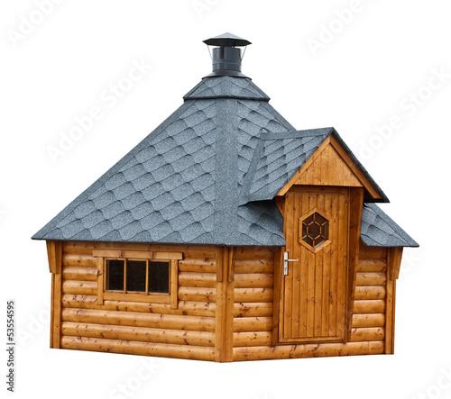 Leinwanddruck Bild Timber garden sauna building