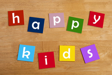 happy kids ! - word sign for school children.