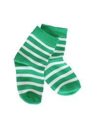green striped baby socks on white background