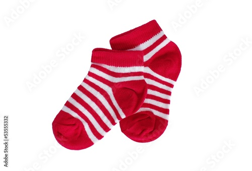 red striped socks on white background