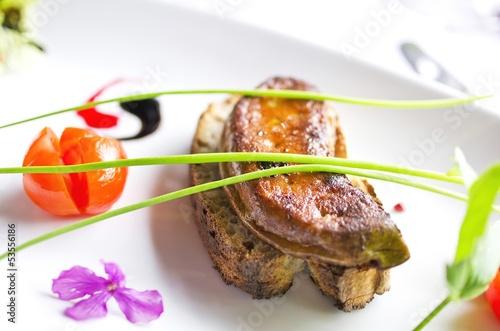 canvas print picture Foie gras poêlé sur toast